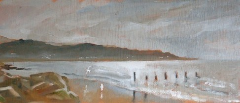 "Dawn Over Dymchurch - 5x12"" - Oil on panel."