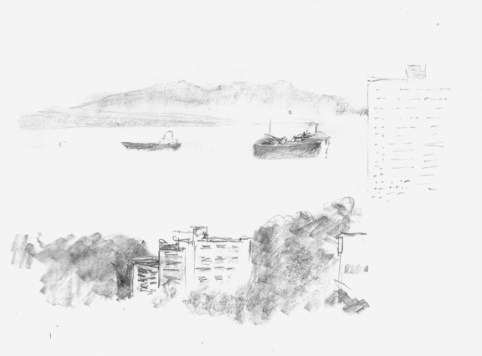 "View from Times Square Penang - 6x8"" - pencil"