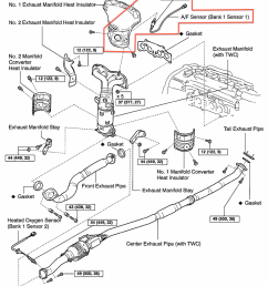 rav4 engine diagram oxygen sensor u2014 replacement3d exploded view of the exhaust system compents with fastener sizes and [ 879 x 1074 Pixel ]