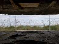 The view from inside a German bunker, looking at the English Channel.