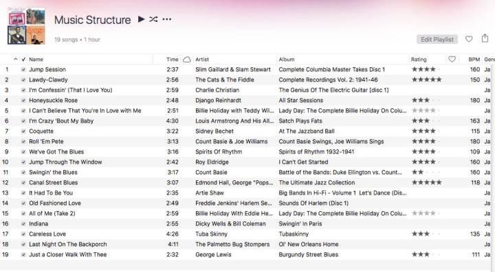 Screenshot of Music Structure playlist