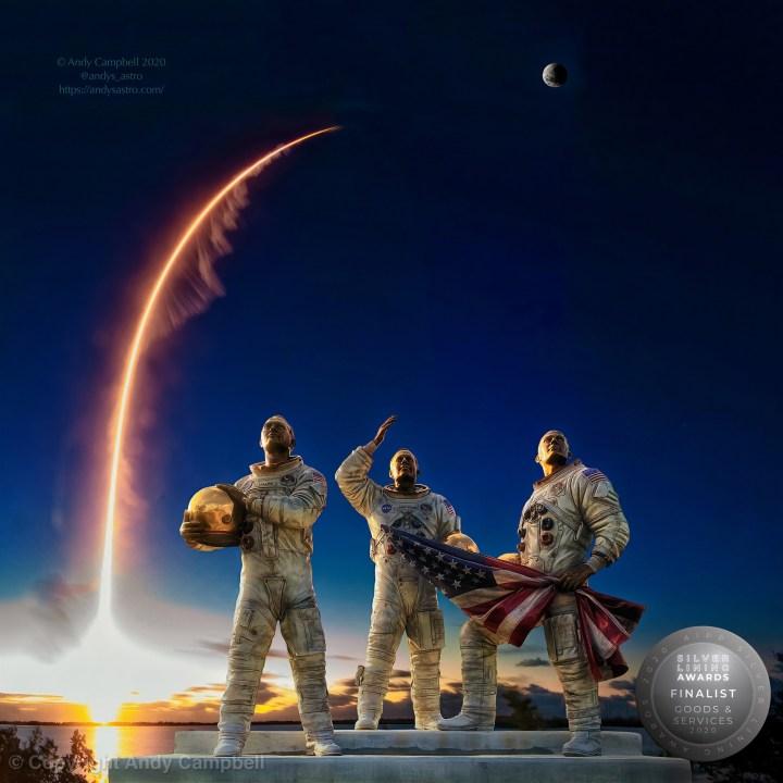 Apollo astronauts and atlas V rocket launch