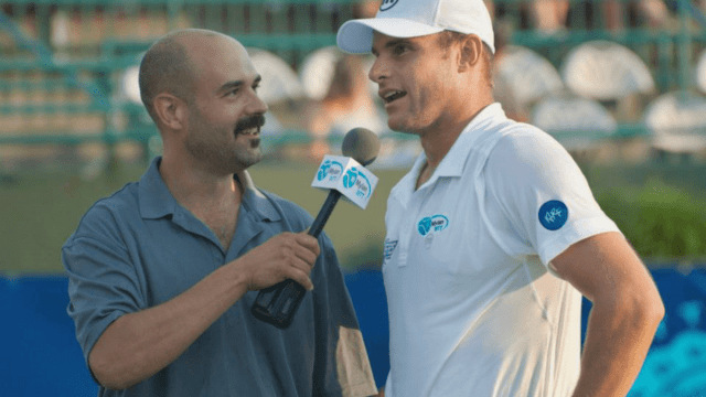 Announcer Andy Taylor. Tennis Interviews. Springfield 2013. Andy Roddick