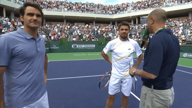 Announcer Andy Taylor. Tennis Interviews. Indian Wells 2014. Roger Federer and Stan Wawrinka