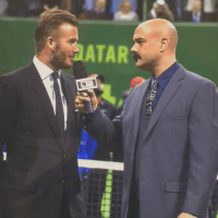 Announcer Andy Taylor. Tennis Interviews. Doha 2015. Qatar ExxonMobil Open Trophy Presentation