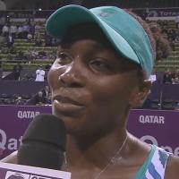 Announcer Andy Taylor. Tennis Interviews. Doha 2015. Venus Williams
