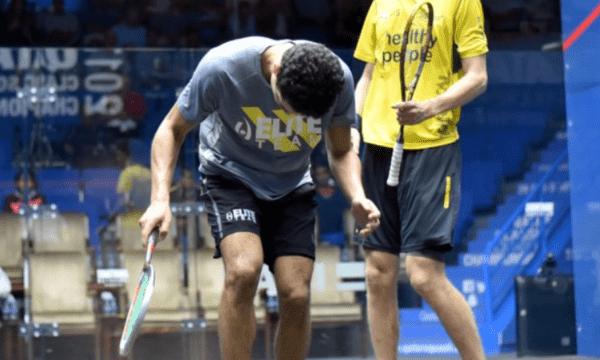 Andy Taylor. Sports Emcee. Qatar Classic Squash Championship. Day 3. Round of 16. Tarek Momen