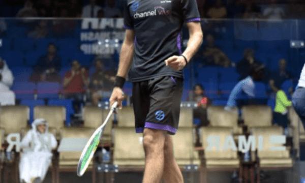 Andy Taylor. Squash Host. Qatar Classic Squash Championship. Day 3. Round of 16. Marwan ElShorbagy