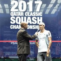 Andy Taylor. Sports Announcer. Qatar Classic Squash Championship. Day 1. Round 1. Diego Elias
