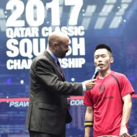 Andy Taylor. Sports Host. Qatar Classic Squash Championship. Day 1. Round 1. Leo Au
