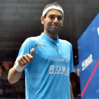 Andy Taylor. Squash Emcee. Qatar Classic Squash Championship. Day 4. Quarterfinals. Mohamed ElShorbagy