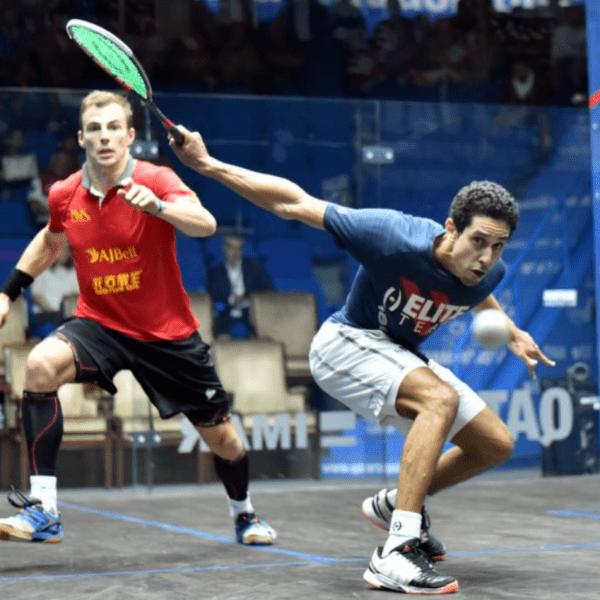 Andy Taylor. Emcee. Qatar Classic Squash Championship. Day 4. Quarterfinals. Tarek Momen