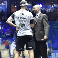 Andy Taylor. Host. Qatar Classic Squash Championship. Day 4. Quarterfinals. Simon Rösner