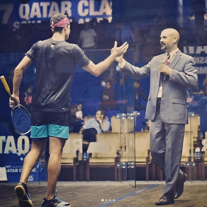 Andy Taylor. Host. Announcer. Qatar Classic Squash Championship 2017. Diego Elias