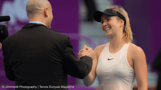 Sports Emcee Andy Taylor. Qatar Total Open 2018. Round-2. Day-3. Elina Svitolina