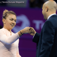 Emcee Andy Taylor. Qatar Total Open 2018. Quarterfinal. Day-5. Simona Halep