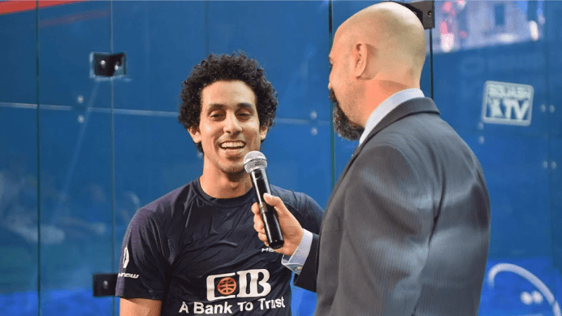 Andy Taylor Announcer 2018 Qatar Classic Round of 16 Victory Tarek Momen