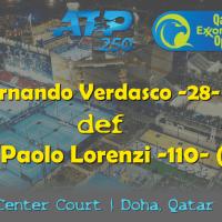 Announcer Andy Taylor. Qatar ExxonMobil Open 2019. Day 1. Round 1. Match 1. Verdasco def Lorenzi