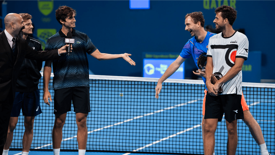 Announcer Andy Taylor. Qatar ExxonMobil Open 2019. Day 5. Doubles Championship. Match 1. David Goffin and Pierre-Hugues Herbert