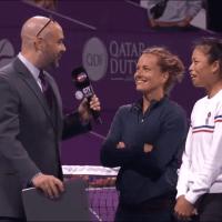 Announcer Andy Taylor. Tennis Interviews. Doha 2020. Su-wei Hsieh Barbora Strycova