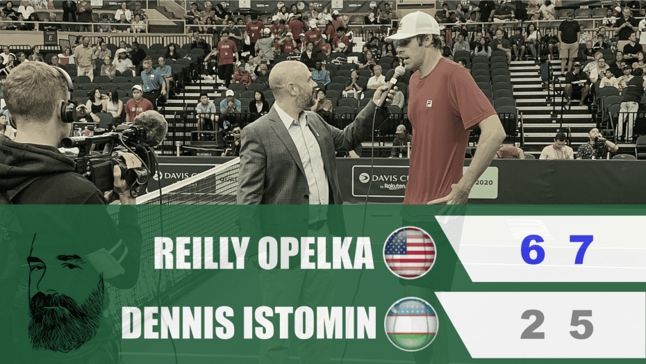 Announcer Andy Taylor. Davis Cup Qualifier 2020. Day1. Match1. Reilly Opelka