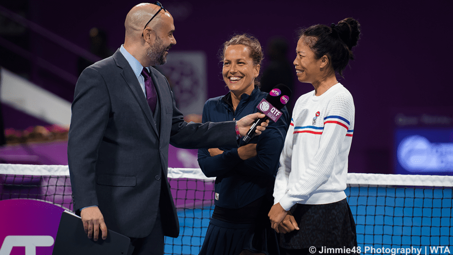 Doha Announcer Andy Taylor. Qatar Total Open 2020. Su-wei Hsieh Barbora Strycova Champions