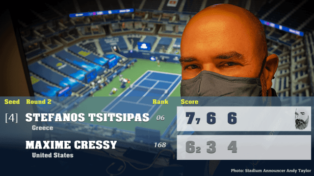 Announcer Andy Taylor. 2020 US Open. Round 2 Stefanos Tsitsipas