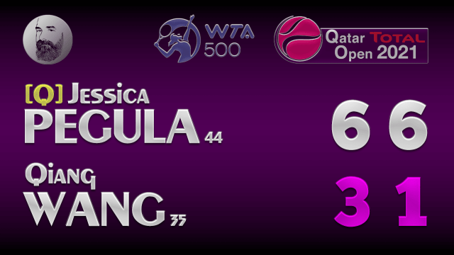 Announcer Andy Taylor. Qatar Total Open 2021. Round 1 Jessica Pegula defeats Qiang Wang