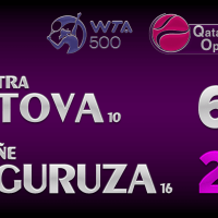 Announcer Andy Taylor. Qatar Total Open 2021. Final Petra Kvitova defeats Garbine Muguruza
