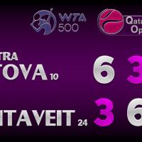 Announcer Andy Taylor. Qatar Total Open 2021. Quarterfinal Petra Kvitova defeats Anett Kontaveit