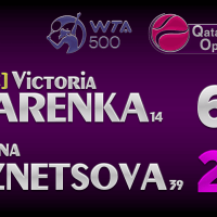 Announcer Andy Taylor. Qatar Total Open 2021. Round 1 Victoria Azarenka defeats Svetlana Kuznetsova