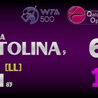 Announcer Andy Taylor. Qatar Total Open 2021. Round 2 Elina Svitolina defeats Misaki Doi