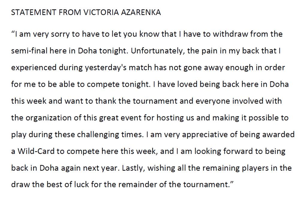 Announcer Andy Taylor. Qatar Total Open 2021. Semifinal Garbine Muguruza walkover Victoria Azarenka Statement