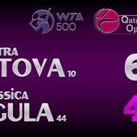Announcer Andy Taylor. Qatar Total Open 2021. Semifinal Petra Kvitova defeats Jessica Pegula