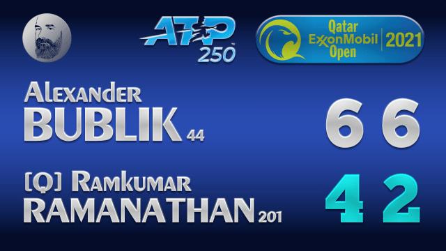 Announcer Andy Taylor. Qatar ExxonMobil Open 2021. Round 1 Alexander Bublik defeats Ramkumar Ramanathan