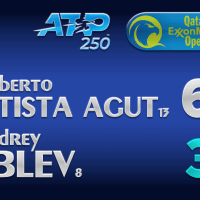 Announcer Andy Taylor. Qatar ExxonMobil Open 2021. Semifinal Roberto Bautista Agut defeats Andrey Rublev