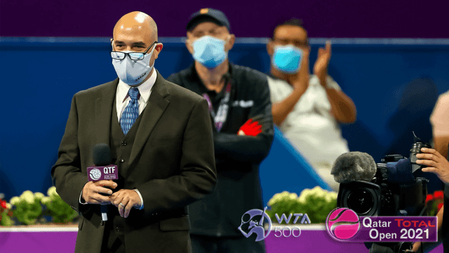 Doha Announcer Andy Taylor. 2021 Qatar Total Open