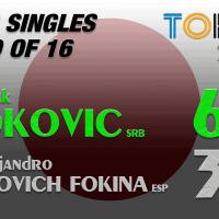 Announcer Andy Taylor. Tokyo 2020. Round of 16. Novak Djokovic defeats Alejandro Davidovich Fokina