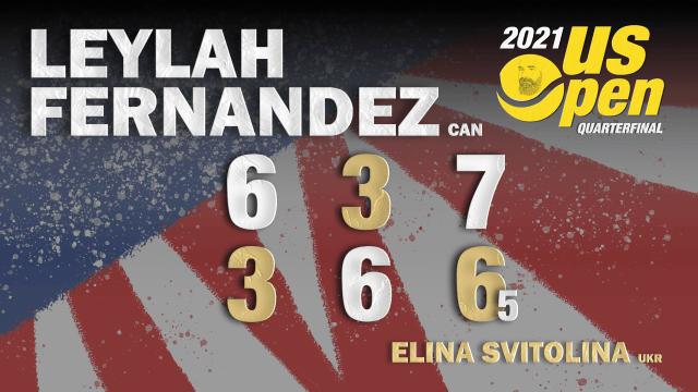 Announcer Andy Taylor. 2021 US Open. Quarterfinals. Leylah Fernandez defeats Elina Svitolina