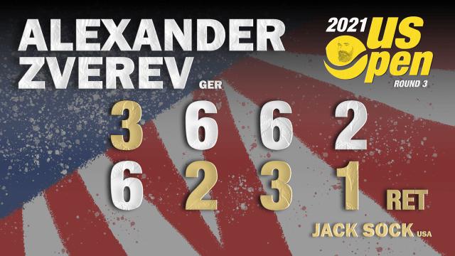 Announcer Andy Taylor. 2021 US Open. Round-3. Alexander Zverev defeats Jack Sock
