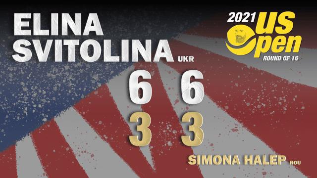 Announcer Andy Taylor. 2021 US Open. Round-4. Elina Svitolina defeats Simona Halep