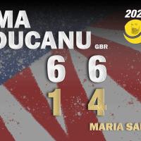 Announcer Andy Taylor. 2021 US Open. Semifinals. Emma Raducanu defeats Maria Sakkari