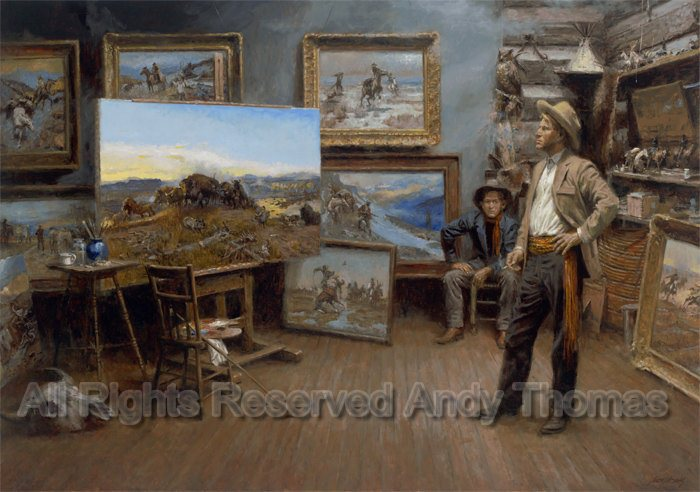 WESTERN ART POSTER At Ropes End Charles M Russell NEW