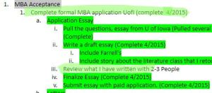 Green Highlight of my goals document