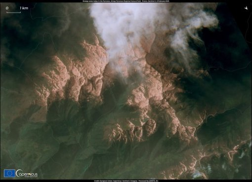 Sand and dust storm impacts Europe EU Sentinel2 image of the Pyrénées, covered in sand 8.2.2021