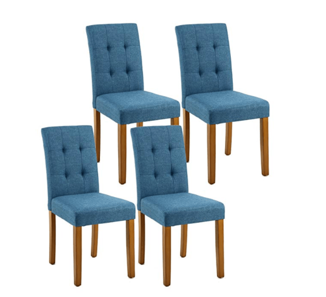 Blue tufted chairs