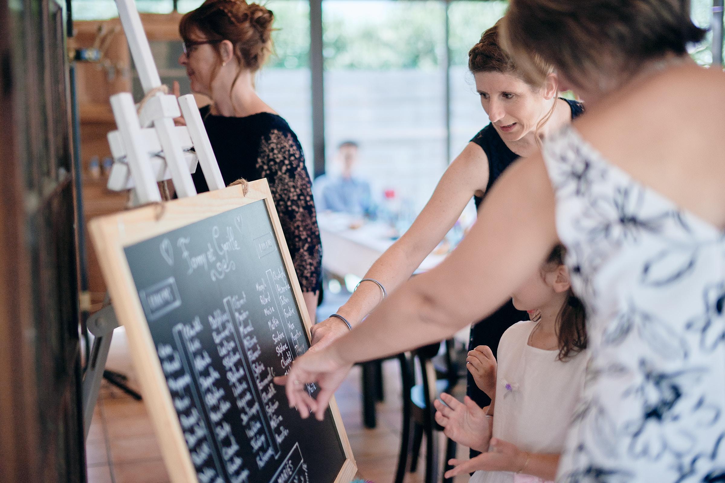 les invités cherchent leur place pour le repas du mariage au restaurant la jalonnière