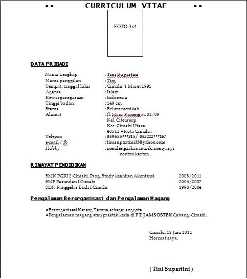 Contoh Curriculum Vitae Guru Free Resume Examples Samples For