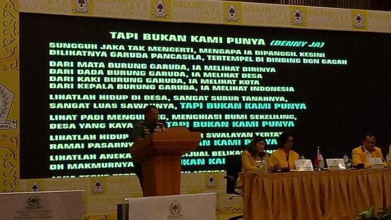 Puisi Panglima TNI di Rapimnas Golkar Dikritik PDIP Tapi Dipuji Gerindra