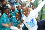 Wits Football mascots posing for the camera after they had walked in the Clever boys